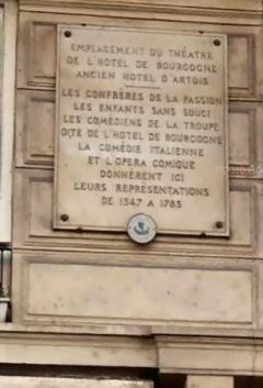 plaque commémorative theatre hotel de bourgogne